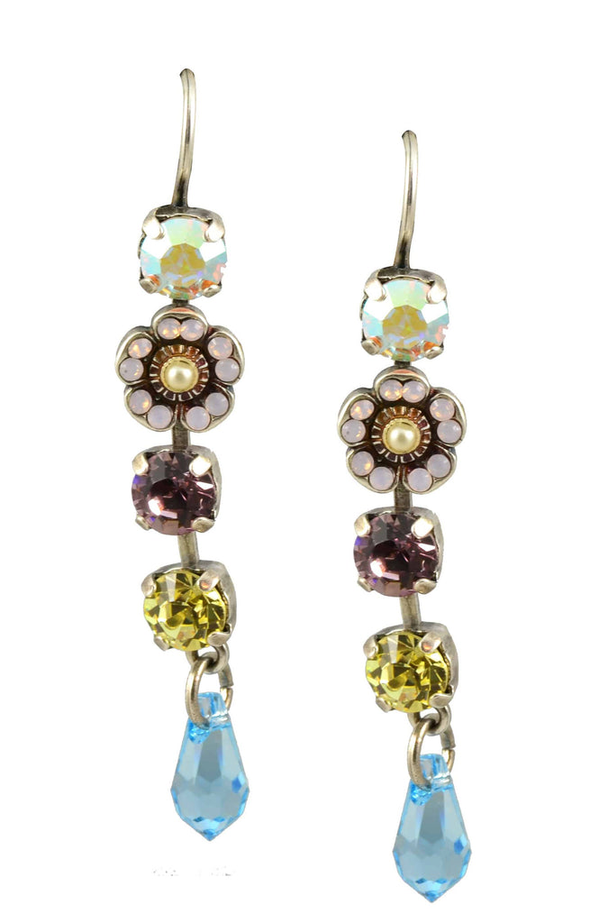 Mariana Jewelry Coco Silver Plated Flower Dangle Swarovski Crystal Drop Earrings