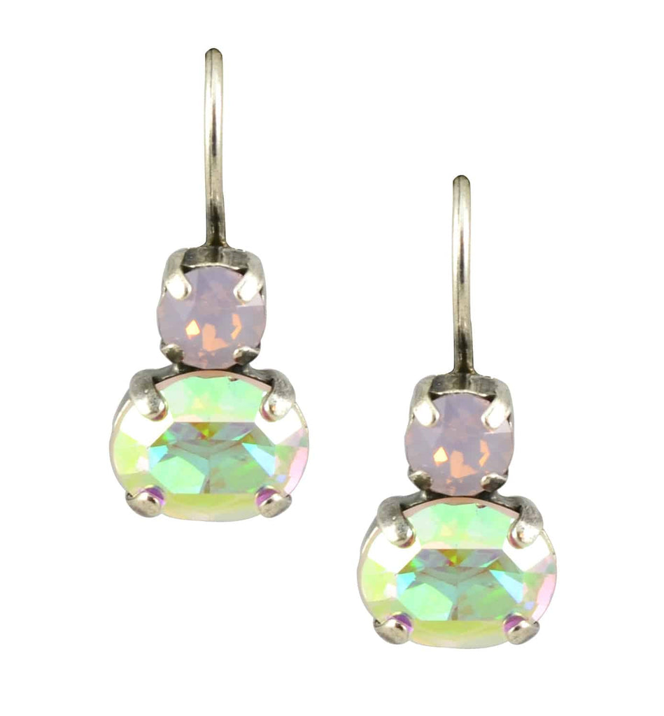 Mariana Jewelry Coco Silver Plated Petite Oval Swarovski Crystal Drop Earrings