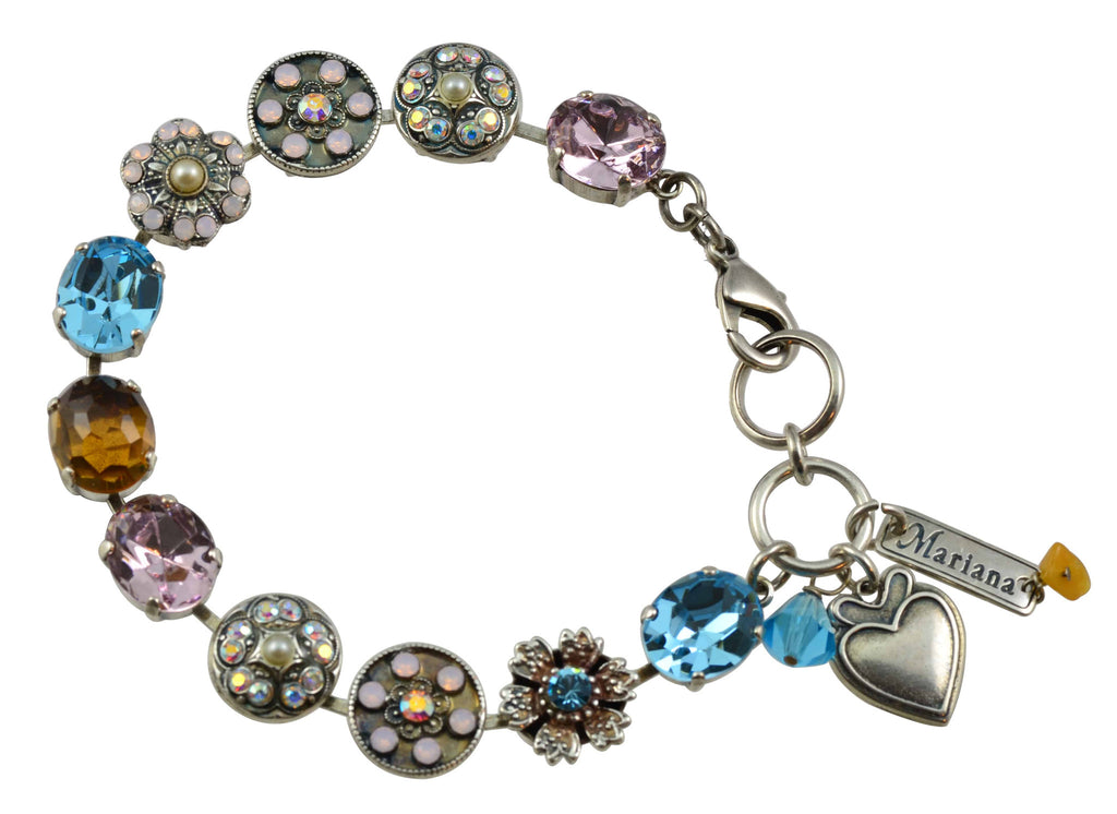 Mariana Jewelry Coco Silver Plated Swarovski Crystal Oval and Flower Tennis Bracelet with Heart Pendant