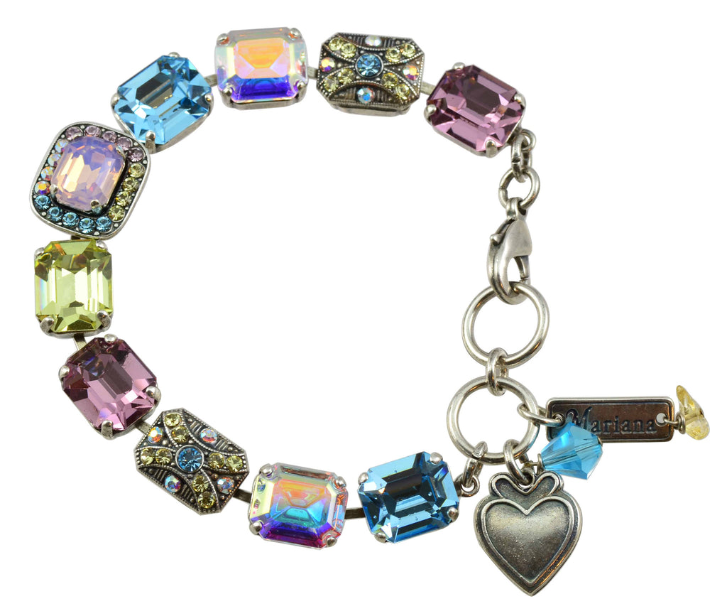 Mariana Jewelry Coco Silver Plated Swarovski Crystal Rectangle Tennis Bracelet with Heart Pendant