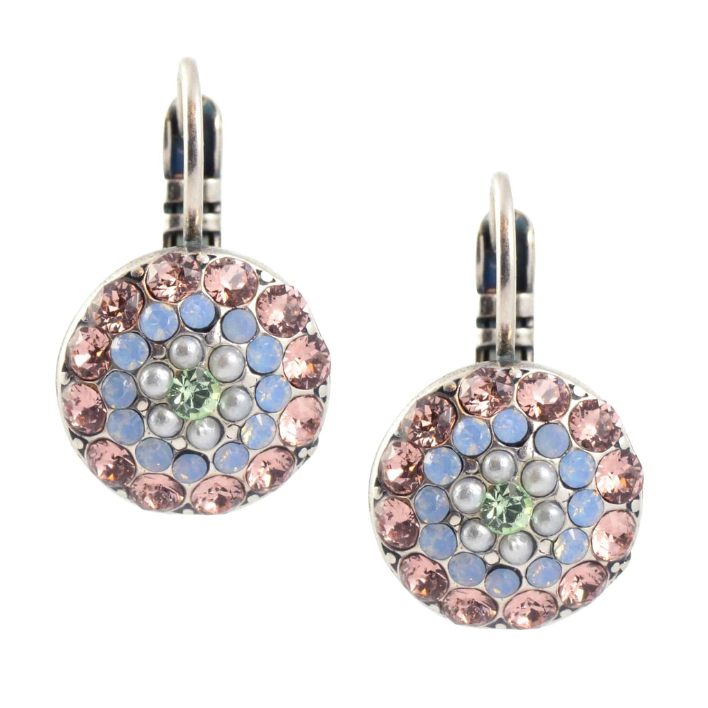 Mariana Jewelry Cosmo Circle Drop Earrings, Silver Plated with Blue and Pink Swarovski Crystal 1141 1055