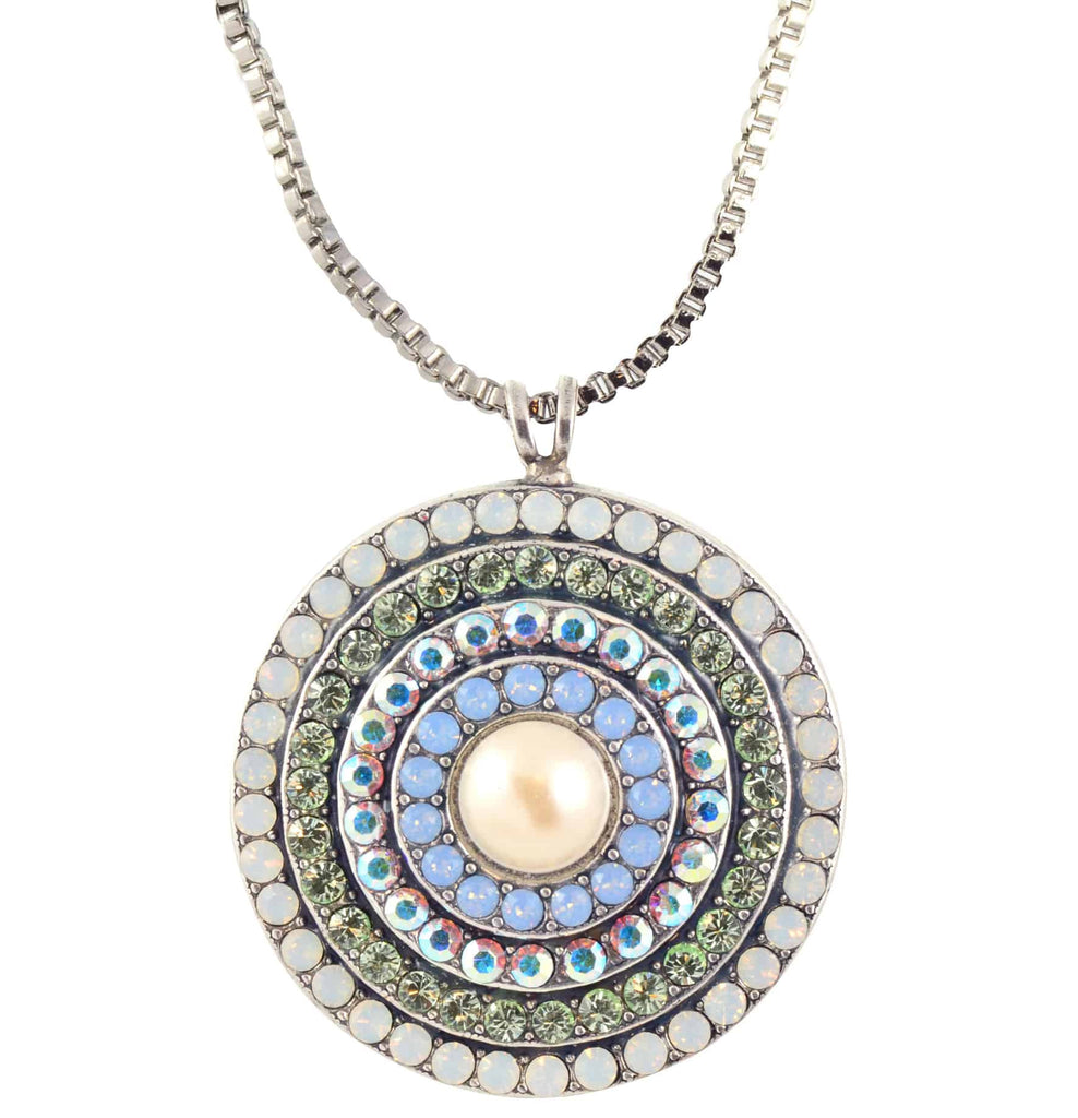 Mariana Jewelry Cosmo Spanish Roundel Pendant Necklace, Silver Plated with Swarovski Crystal , 24+4 5078L 1055