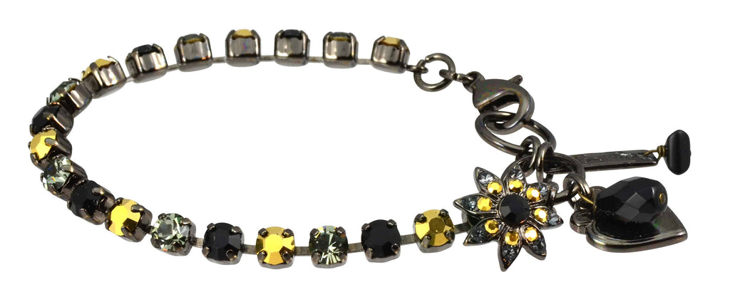 Mariana Jewelry Courage Black Gold Plated Swarovski Crystal Tennis Bracelet with Flower and Heart, 8