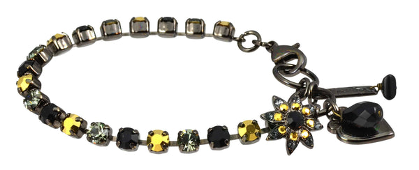 Mariana Courage Black Gold Plated Swarovski Crystal Tennis Bracelet with Flower and Heart, 8