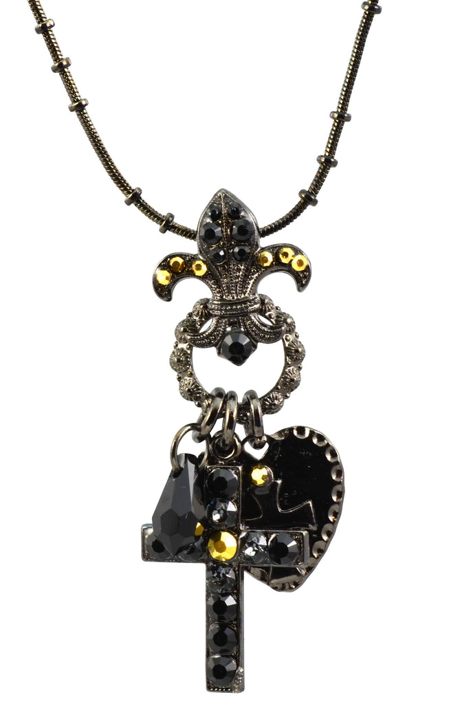 Mariana Jewelry Courage Black Gold Plated Swarovski Crystal Cross/Fleur de Lis Necklace