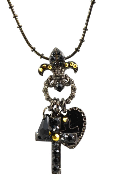 Mariana Courage Black Gold Plated Swarovski Crystal Cross/Fleur de Lis Necklace