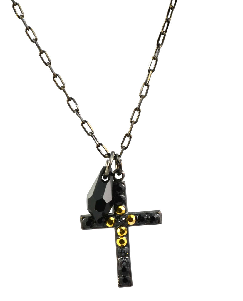 Mariana Courage Black Gold Plated Swarovski Crystal Cross Necklace