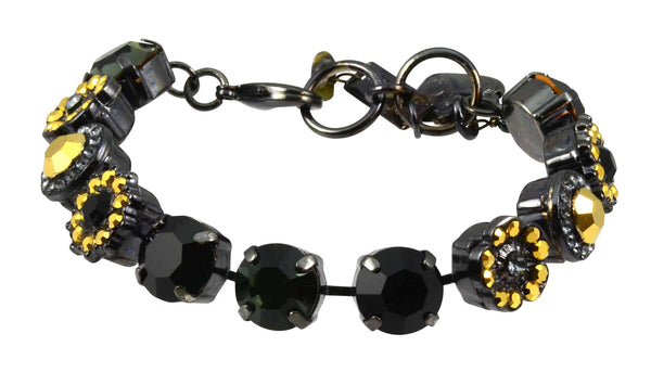 Mariana Courage Black Gold Plated Flower Swarovski Crystal Tennis Bracelet, 8