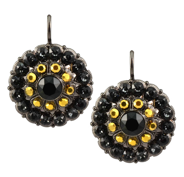 Mariana Courage Black Gold Plated Swarovski Crystal Large Round Drop Earrings