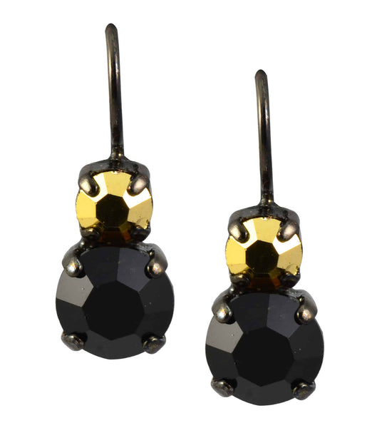 Mariana Courage Black Gold Plated Swarovski Crystal Petite Round Drop Earrings