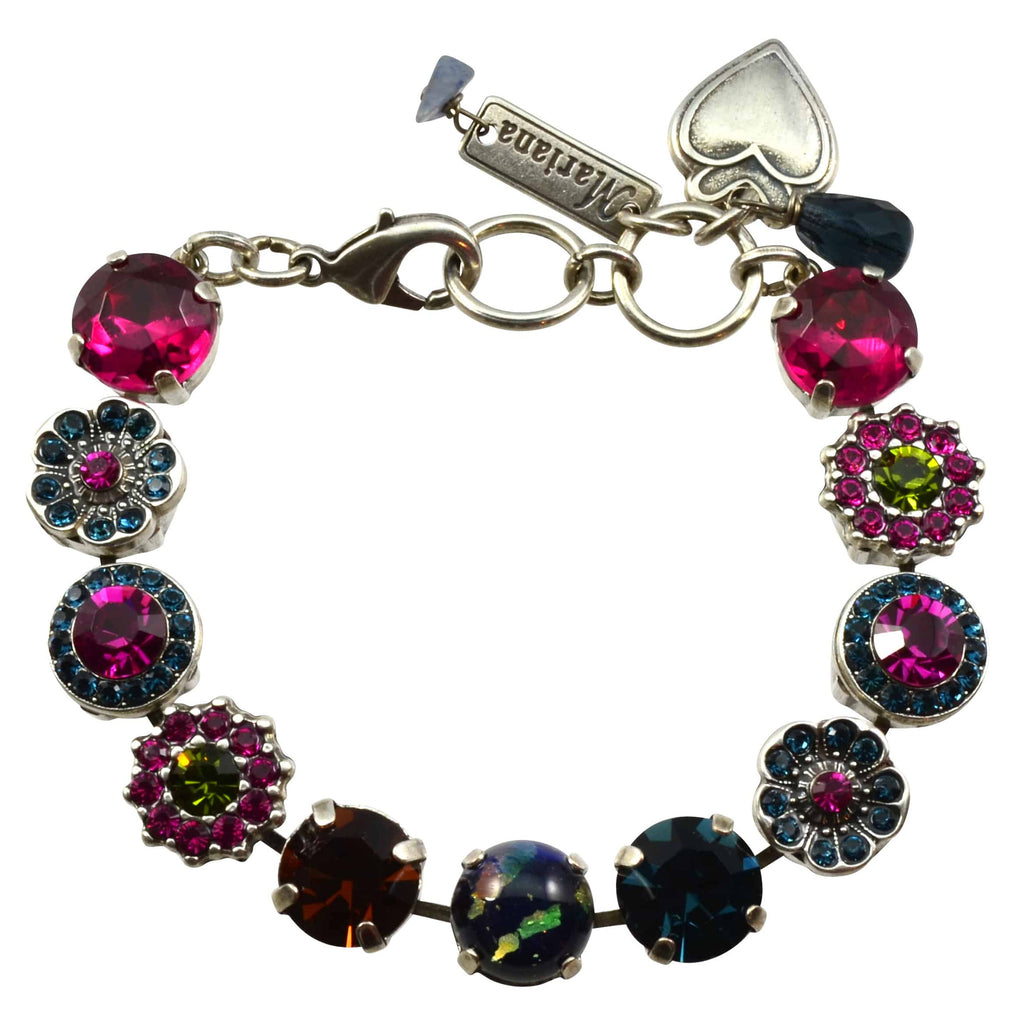 Mariana Crown Jewels Silver Plated Swarovski Crystal Tennis Bracelet, 8