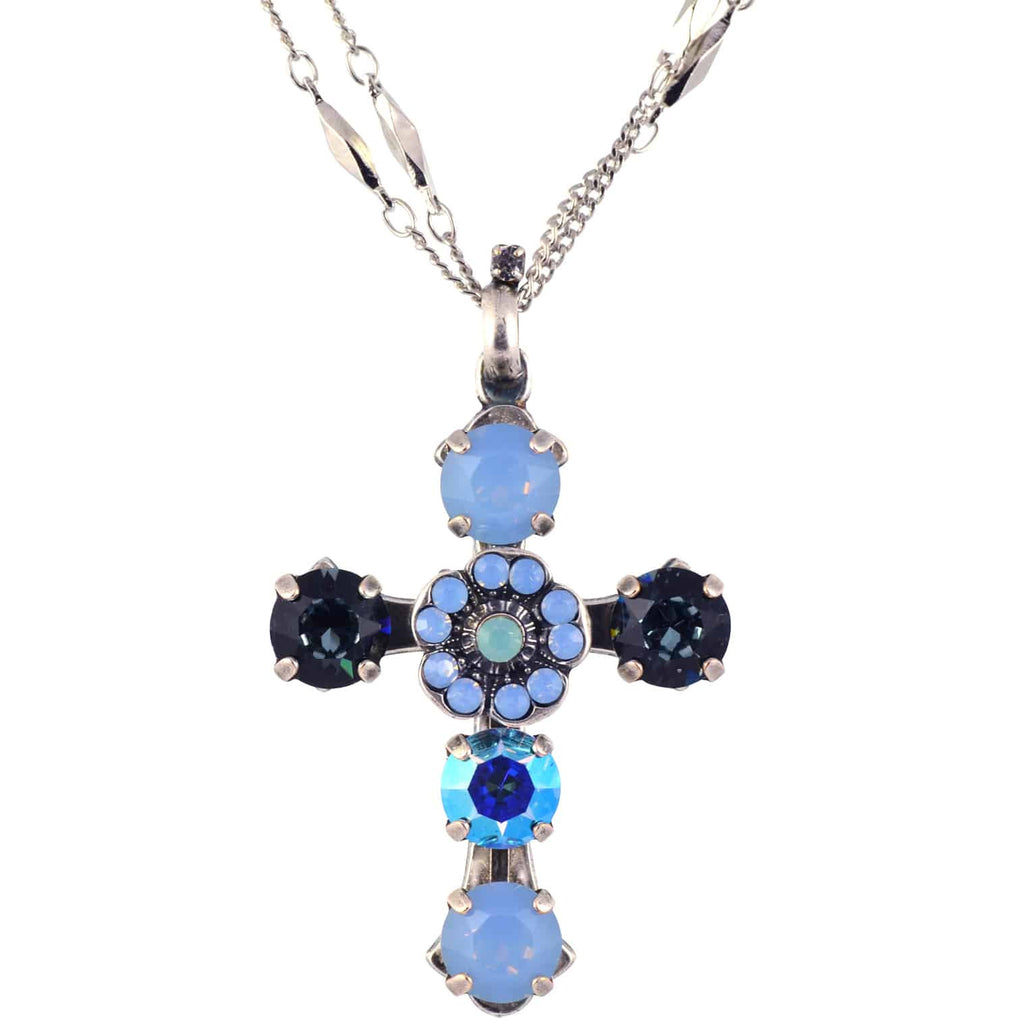 Mariana Daiquiri Swarovski Crystal Silver Plated Double Chain Cross Pendant Necklace