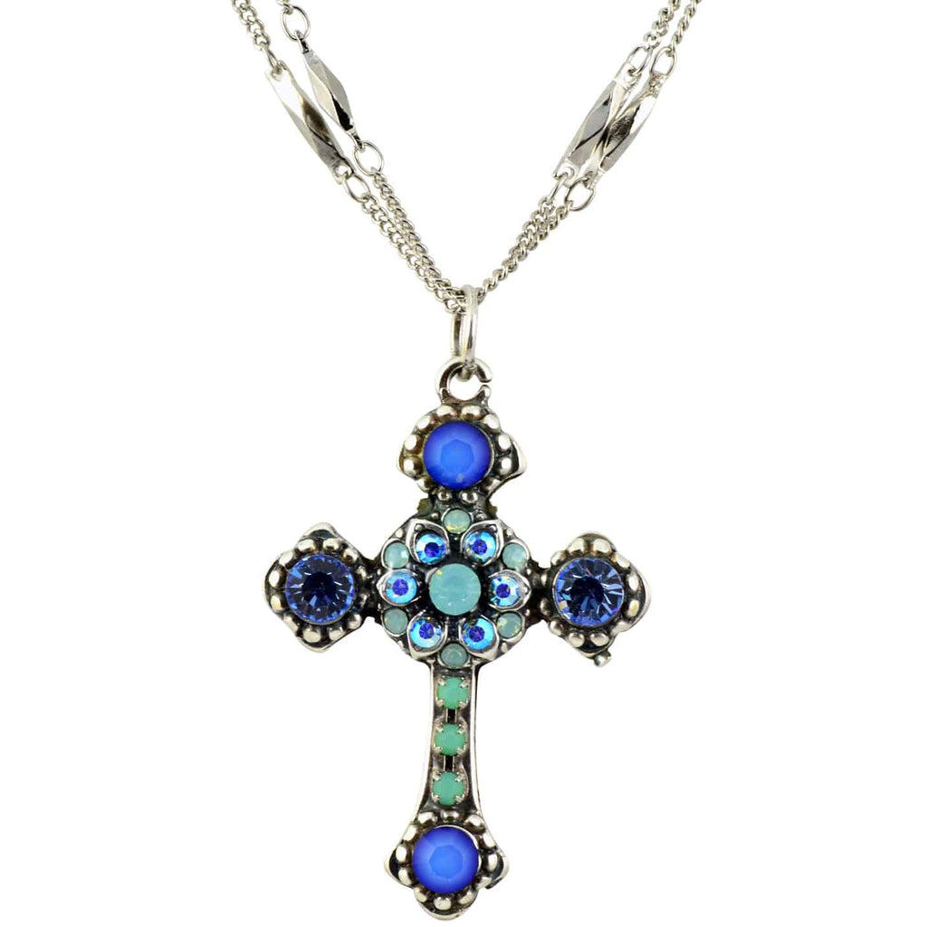 Mariana Jewelry Daiquiri Swarovski Crystal Silver Plated Double Chain Cross Pendant Necklace