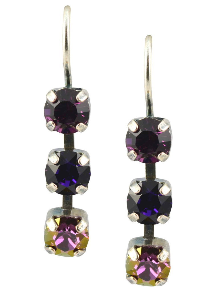 Mariana Jewelry Desire Silver Plated Swarovski Crystal Petite Triple Tier Earrings