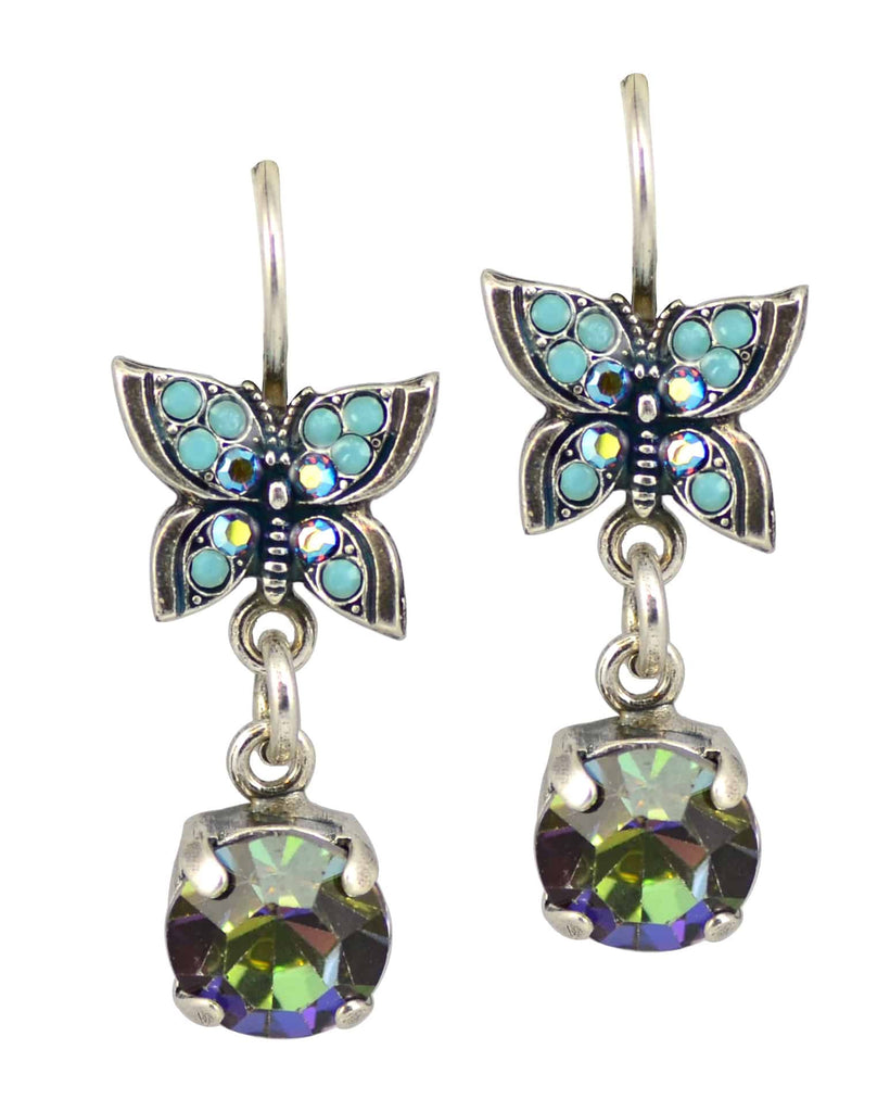 Mariana Jewelry Diana Silver Plated Butterfly and Dangle Jewel Swarovski Crystal Drop Earrings