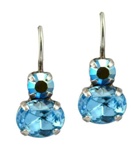 Mariana Jewelry Diana Silver Plated Petite Oval Swarovski Crystal Drop Earrings