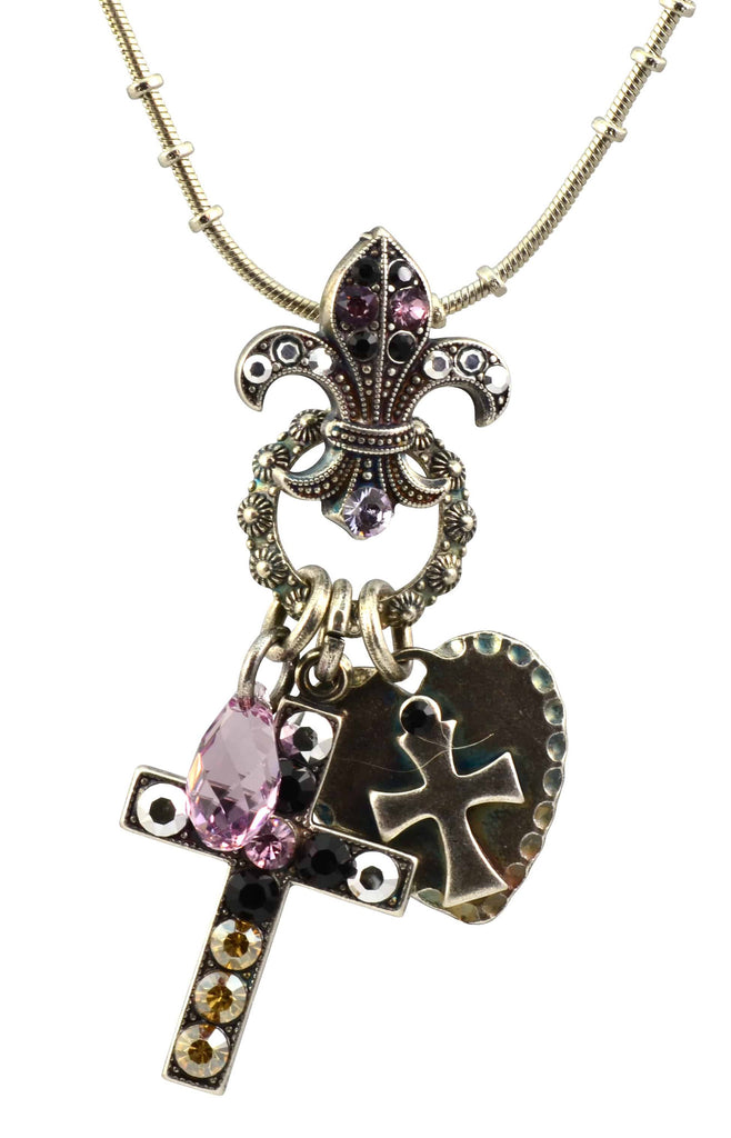 Mariana Jewelry Discover Silver Plated Swarovski Crystal Cross/Fleur de Lis Necklace