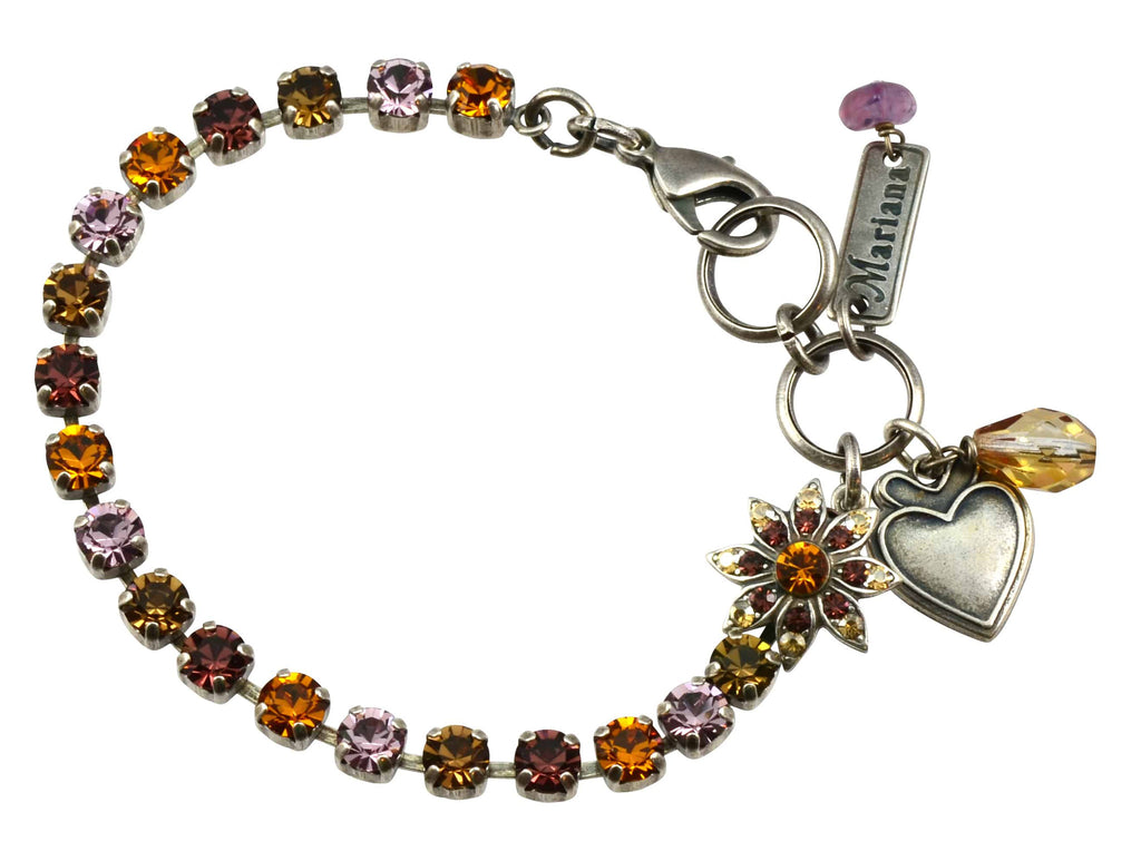 Mariana Dream Silver Plated Swarovski Crystal Tennis Bracelet with Flower and Heart, 8