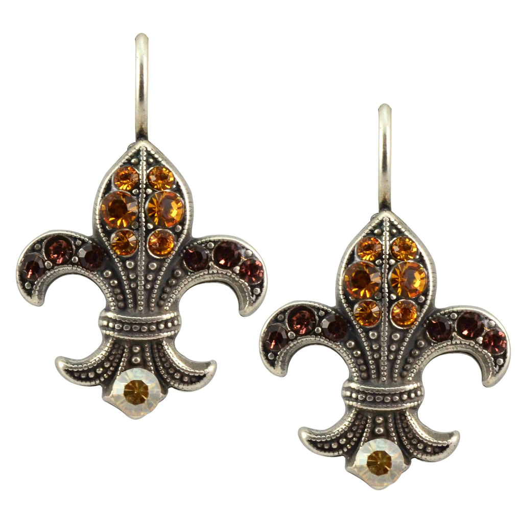 Mariana Jewelry Dream Silver Plated Swarovski Crystal Fleur de Lis Drop Earrings