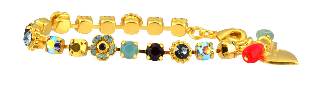 Mariana Jewelry Dynasty Gold Plated Flower Bouquet Swarovski Crystal Bracelet, 8