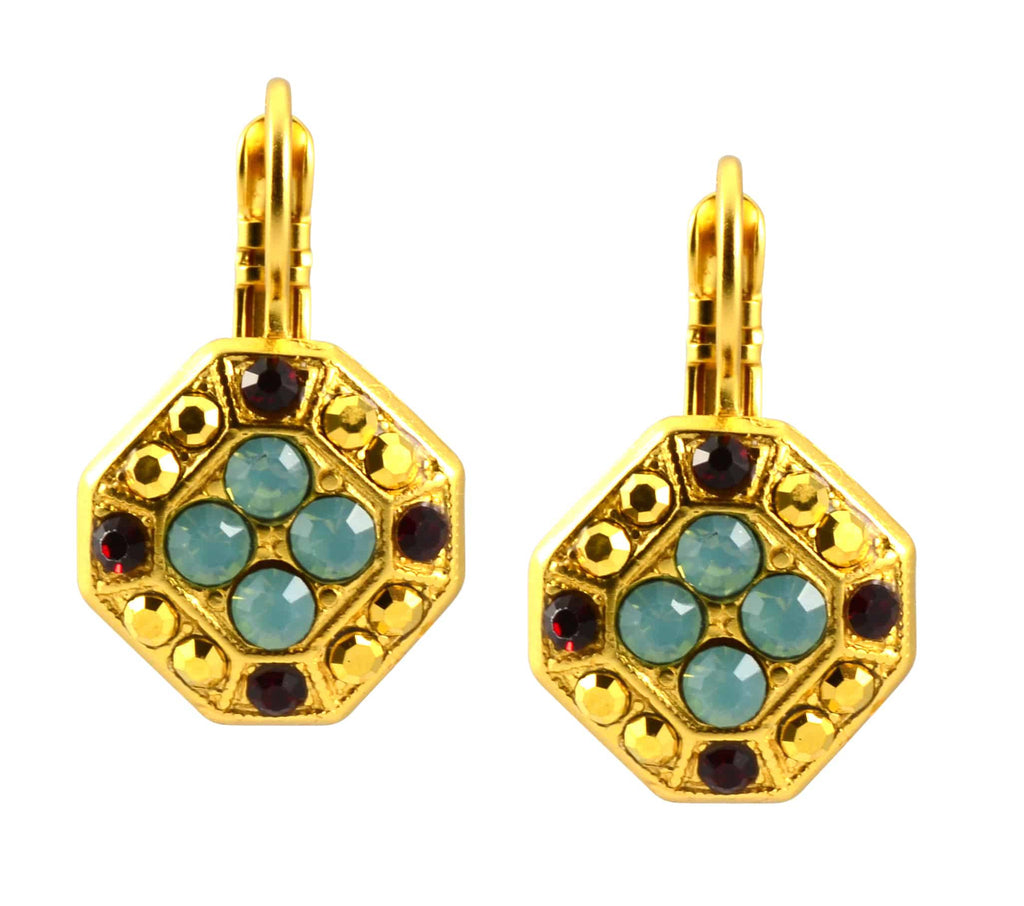 Mariana Jewelry Dynasty Gold Plated Swarovski Crystal Octagon Dangle Earrings