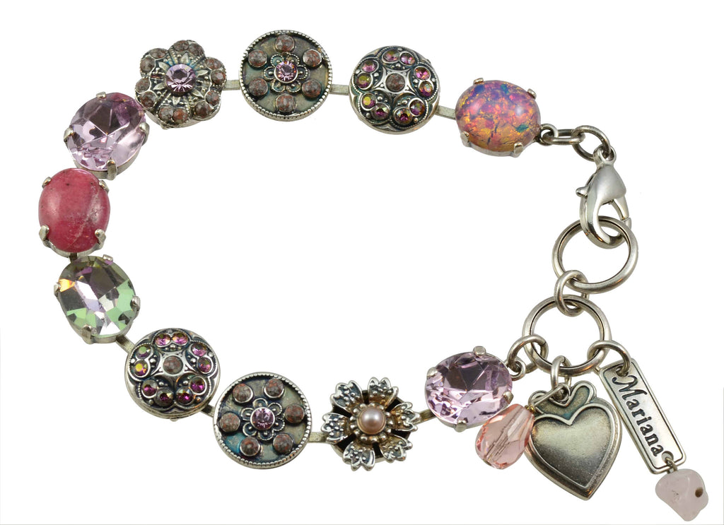 Mariana Jewelry Elizabeth Silver Plated Swarovski Crystal Oval and Flower Tennis Bracelet with Heart
