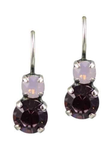 Mariana Elizabeth Silver Plated Petite Round Swarovski Crystal Drop Earrings