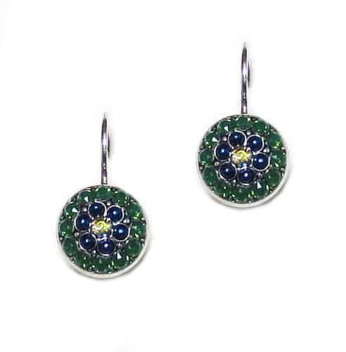 Mariana Jewelry Emerald City Silver Plated Mandala Swarovski Crystal Drop Earrings
