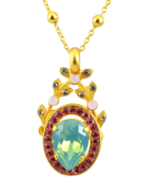Mariana Eternity Gold Plated Swarovski Crystal Floral Pendant Necklace, 22+4