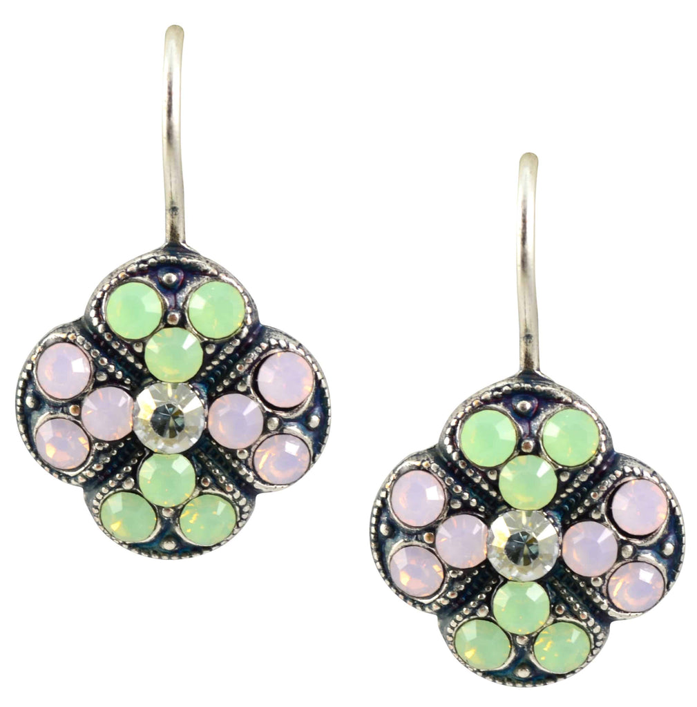 Mariana Jewelry Eternity Silver Plated Swarovski Crystal Clover Drop Earrings