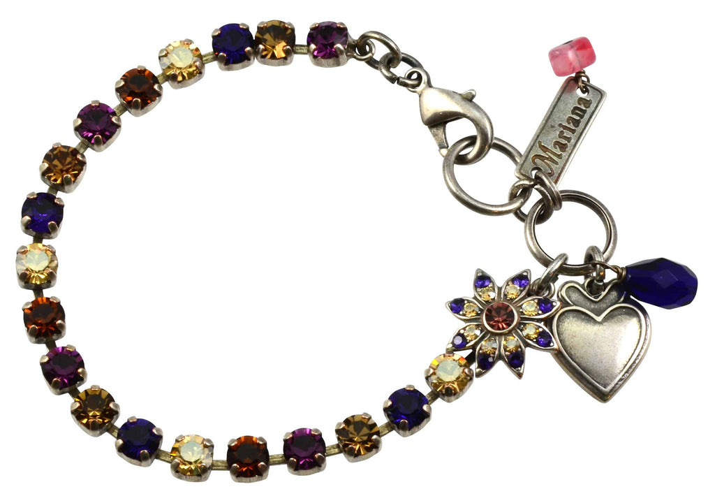 Mariana Jewelry Faith Silver Plated Swarovski Crystal Tennis Bracelet with Flower and Heart, 8