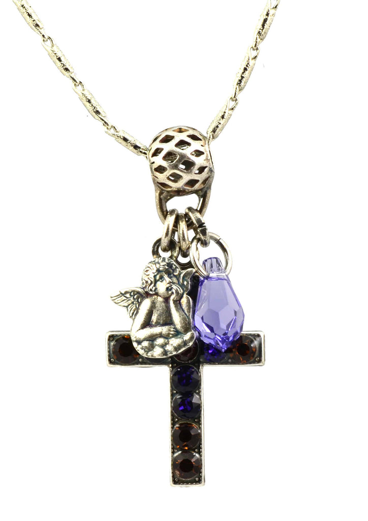 Mariana Jewelry Faith Silver Plated Swarovski Crystal Cross and Guardian Angel Necklace