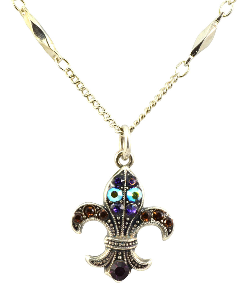 Mariana Jewelry Faith Silver Plated Swarovski Crystal Fleur de Lis Pendant Necklace
