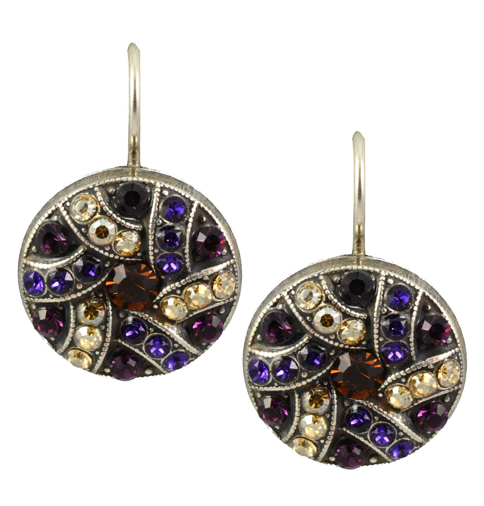 Mariana Faith Silver Plated Swarovski Crystal Shield Drop Earrings