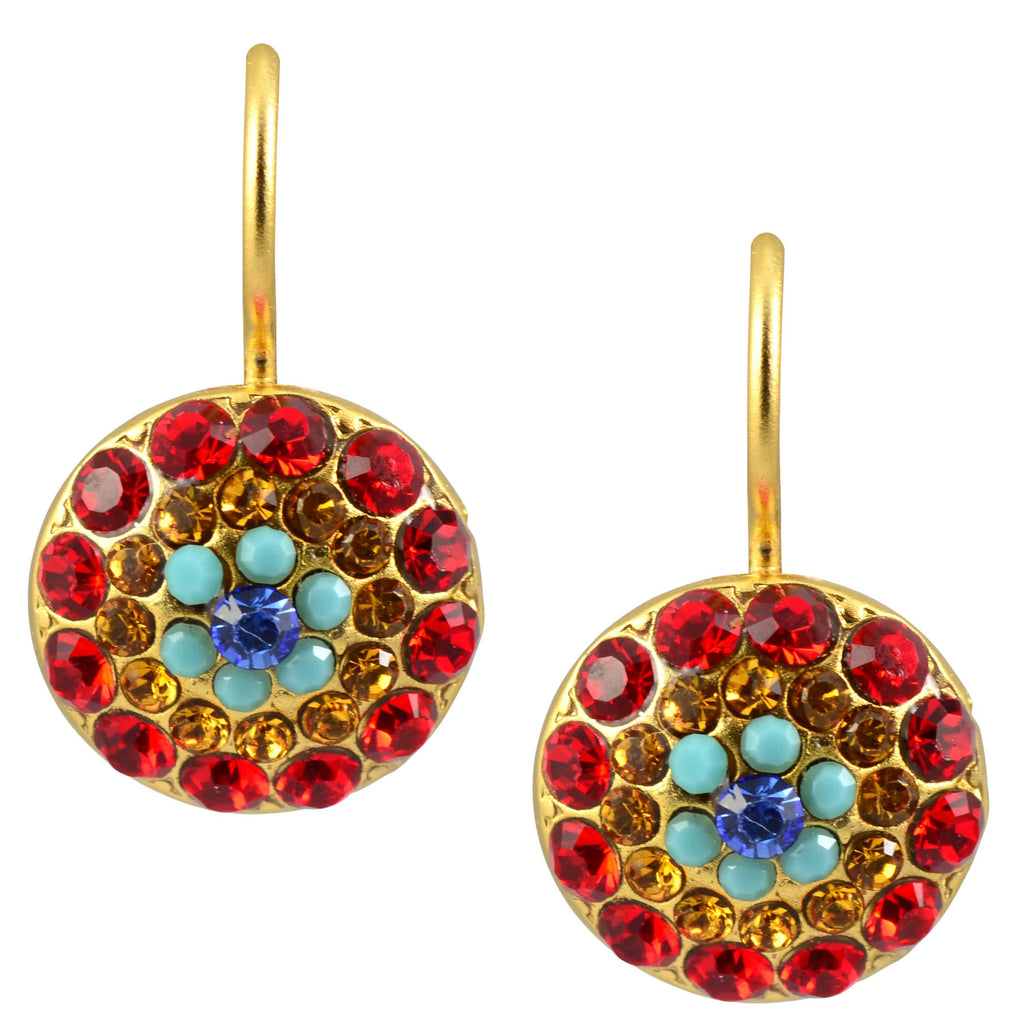 Mariana Jewelry Fantasy Gold Plated Swarovski Crystal Circle Drop Earrings