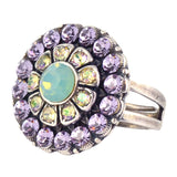 Mariana Jewelry Flower Adjustable Ring, Pina Colada Silver Plated with Swarovski Crystal 7131/1 1063