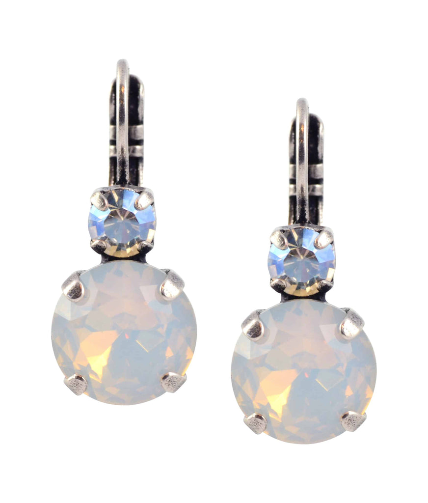 Mariana Forever Round Drop Earrings, Silver Plated with Swarovski Crystal 1037 5087