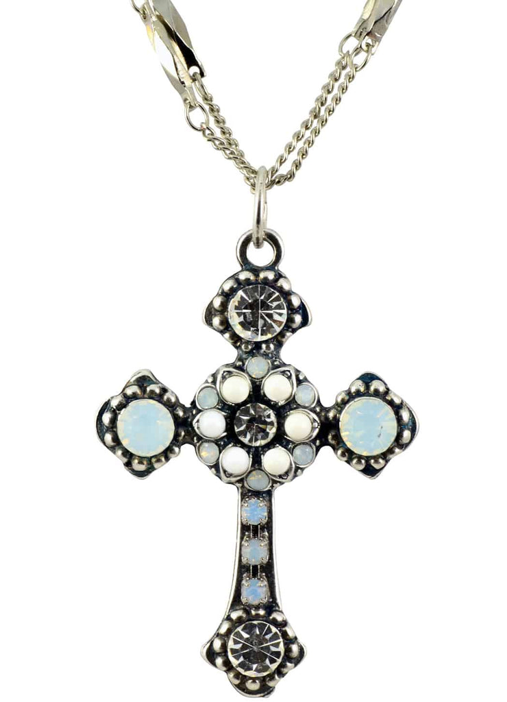 Mariana Forever Swarovski Crystal Silver Plated Double Chain Cross Pendant Necklace