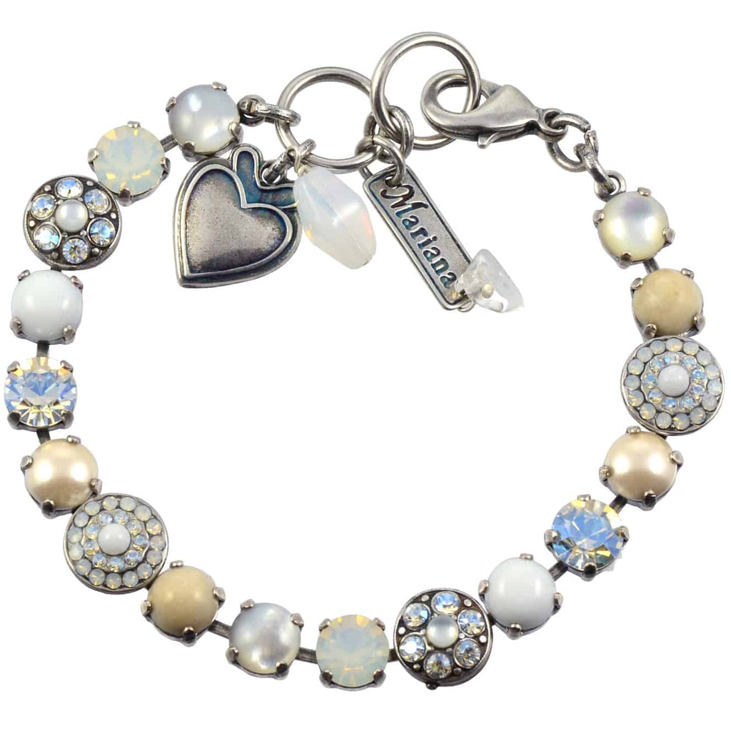 Mariana Forever Silver Plated Swarovski Crystal Round Jewel Tennis Bracelet with Heart Pendant, 8