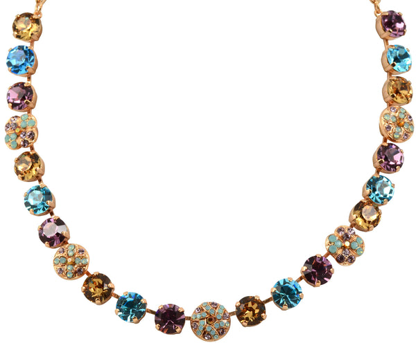 Mariana Friendship Rose Gold Plated Swarovski Crystal Clover and Shield Necklace, 17