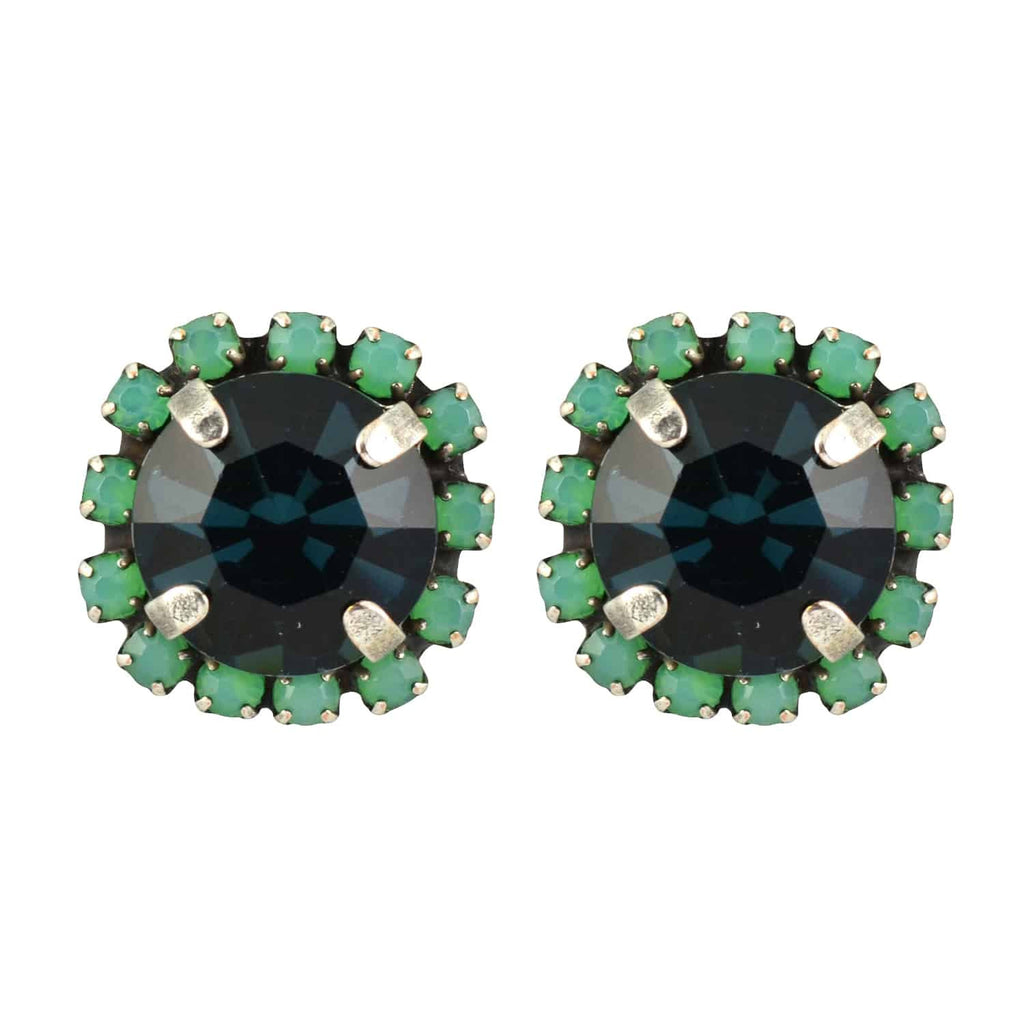 Mariana Jewelry Galaxy Silver Plated Swarovski Crystal 2 Layer Stud Earrings