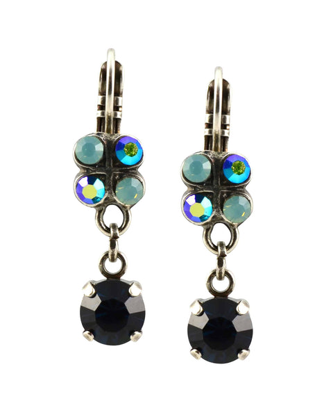 Mariana Galaxy Silver Plated Swarovski Crystal Clover Dangle Earrings