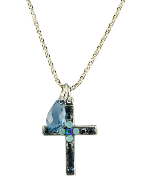 Mariana Galaxy Silver Plated Swarovski Crystal Cross Necklace, 14+4