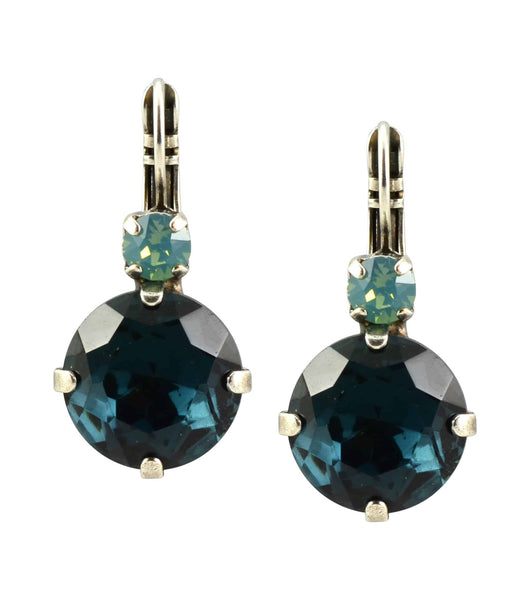 Mariana Galaxy Silver Plated Large Round Swarovski Crystal Drop Earrings