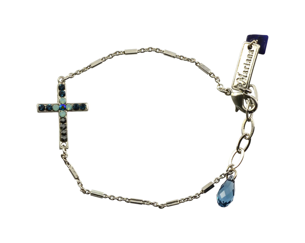 Mariana Jewelry Galaxy Silver Plated Swarovski Crystal Sideways Cross Bracelet, 7.5