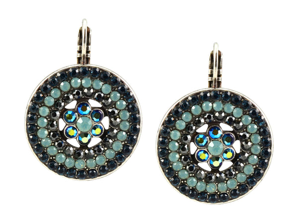 Mariana Galaxy Silver Plated Swarovski Crystal Spanish Roundel Drop Earrings