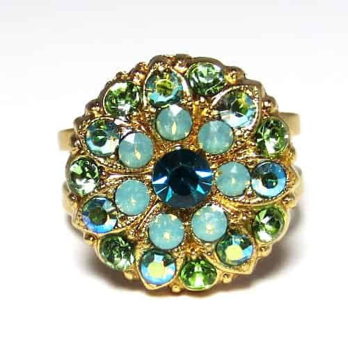 Mariana Gold Plated Angelica Swarovski Crystal Chrystanthemum Flower Adjustable Ring