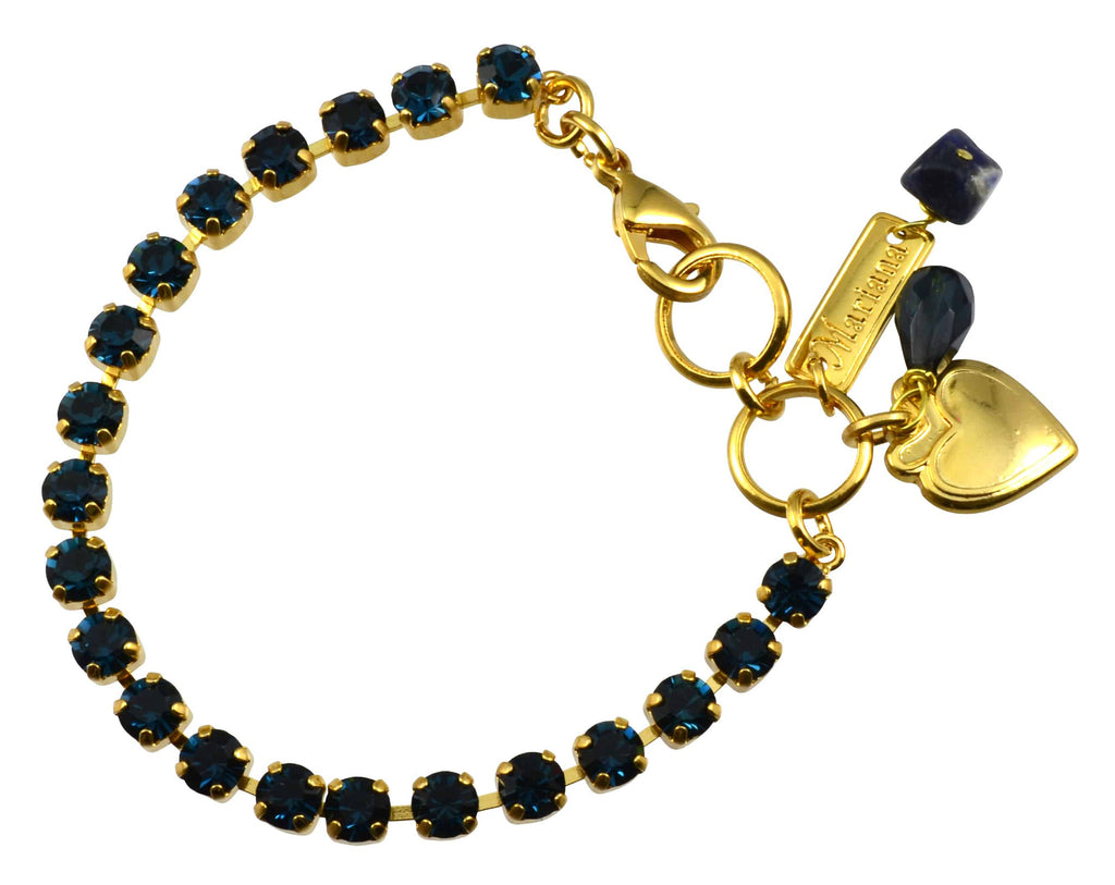 Mariana Gold Plated Swarovski Crystal Tennis Bracelet with Heart Pendant, 8