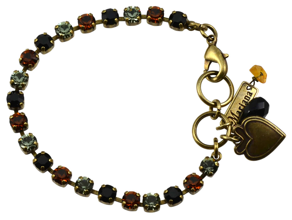 Mariana Jewelry Gold Plated Swarovski Crystal Tennis Bracelet with Heart Pendant, 8