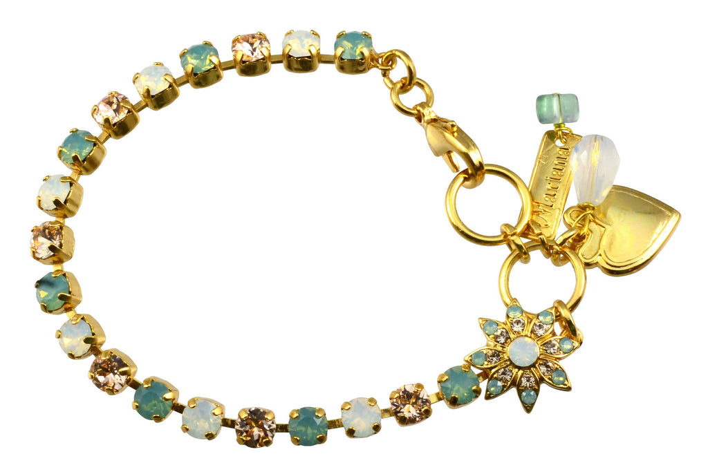 Mariana Gold Plated Swarovski Crystal Tennis Bracelet with Flower and Heart, 8